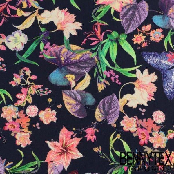 Double Crêpe Polyester Imprimé Motif Grandes Fleurs Exotiques Fond Marine