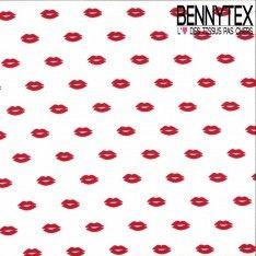 Crêpe Polyester Imprimé Modèle Lipstick Couleur Rouge