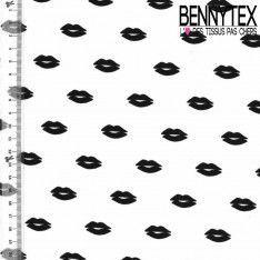 Crêpe Polyester Imprimé Modèle Lipstick Couleur Noir