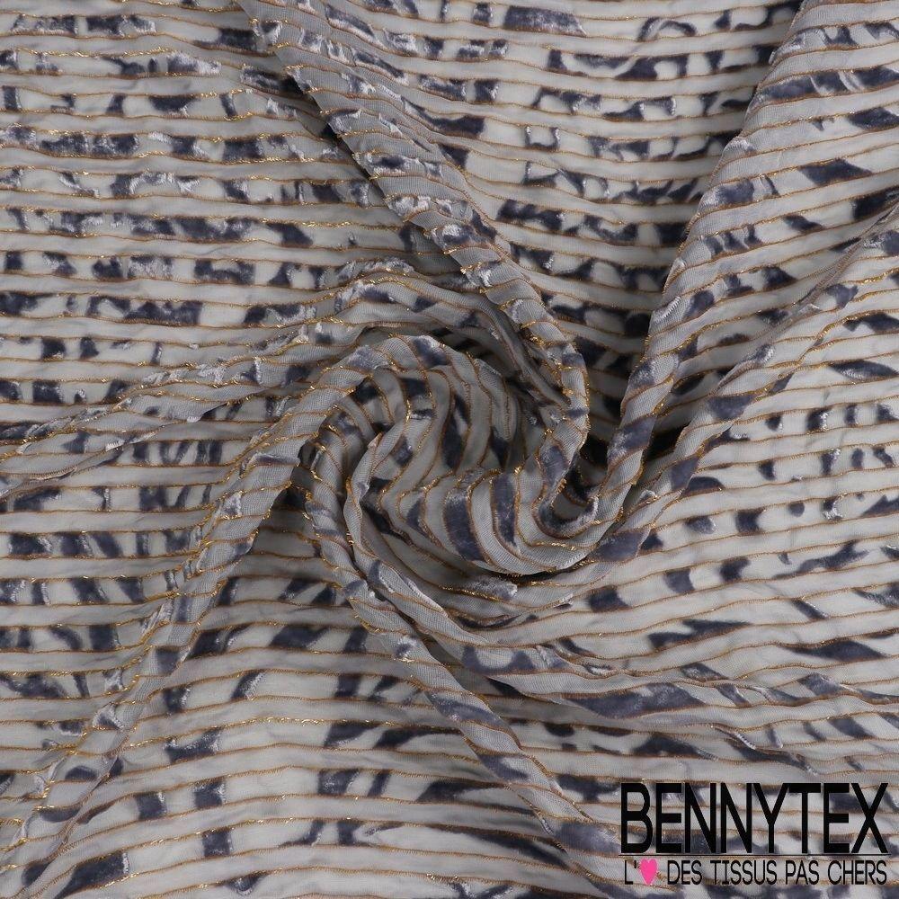 Velours de soie d vor rayures bleu gris bennytex for Velours de soie ameublement