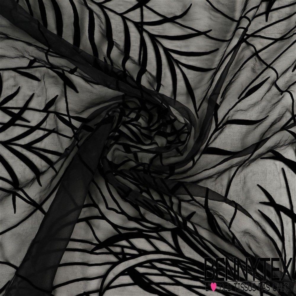 Mousseline de soie floqu velours couleur noir bennytex for Velours de soie ameublement