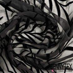 Mousseline de Soie Floqué Velours Couleur Noir