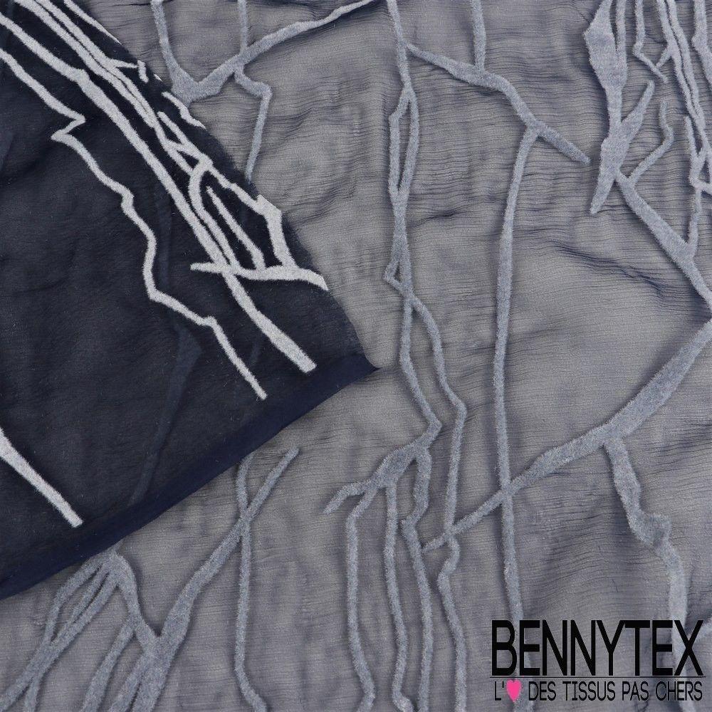 Mousseline de soie marine floqu velours couleur gris for Velours de soie ameublement