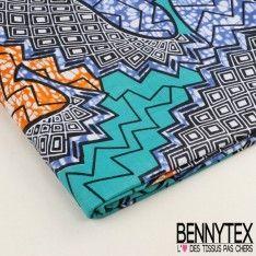 Wax Africain N°02 : Motif Graphique Turquoise Et Orange