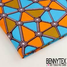 Wax Africain N°010 : Formes Triangles Bleu Orange Et Tieulles