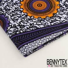 Wax Africain N°011 : Formes Graphique Ton Violet Et Blanc