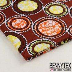 Wax Africain N°016 : Motif Cercles et Arc Dominante ton Choco