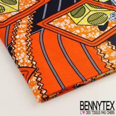 Wax Africain N°017 : Motif Graphique Dominante Orange