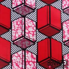 Wax Africain N°018 : Motif Cubique Ton Fushia