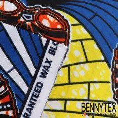 Wax Africain N°020 : Motif Forme Coquillage Ton Bleu Et Jaune