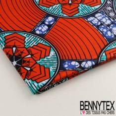 Wax Africain N°024 : Motif Hexagone Ton Dominante Orange Citrouille