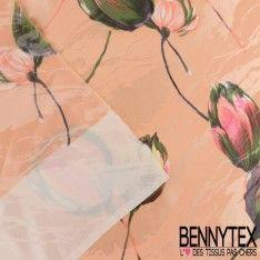 Satin de Soie Imprimé Fleur Effet Peinture Ton Saumon Clair