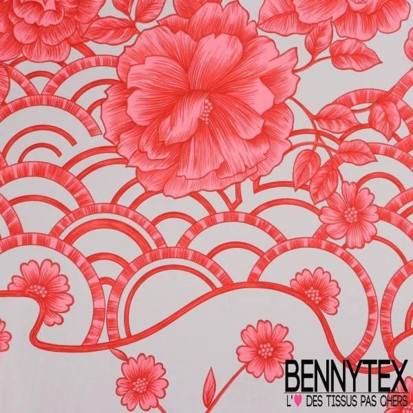 Pongé de Soie Imprimé Fleur Fushia Sur Fond Gris