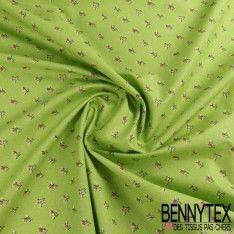 Toile Lorraine 100% Coton Imprimé LILLY Fond Vert