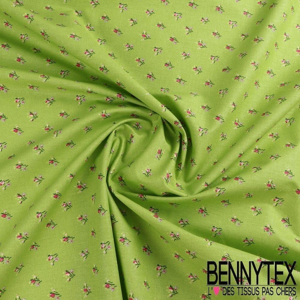 toile lorraine 100 coton imprim lilly fond vert bennytex vente de tissus pas cher au m tre. Black Bedroom Furniture Sets. Home Design Ideas