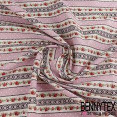 Toile Lorraine 100% Coton Imprimé CONSTANCE Couleur Rose