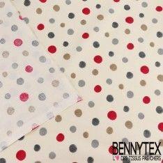 Crétonne 100 % Coton Imprimé Modèle DOT Couleur Gris Et Rouge