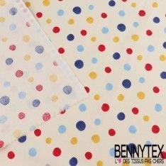 Crétonne 100 % Coton Imprimé Modèle DOT Couleur Rouge Et Bleu
