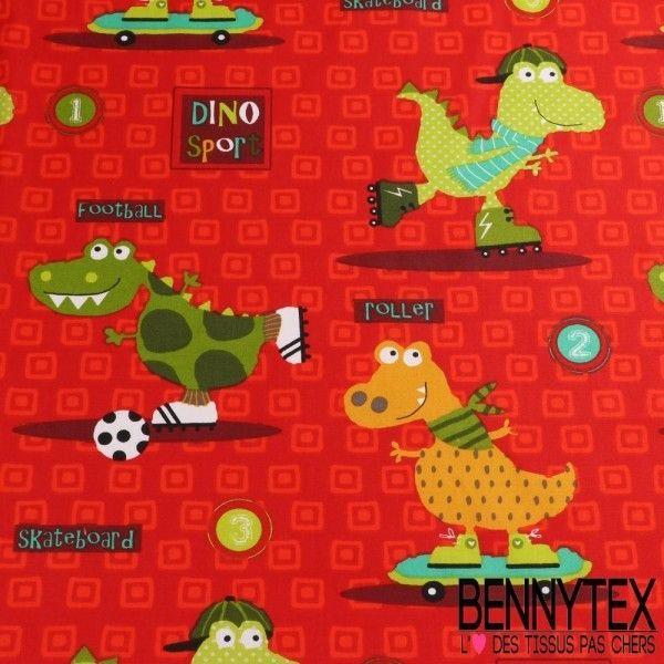 Cretonne 100 % Coton Imprimé Modèle DINO