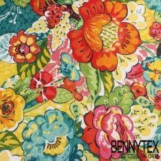 Cretonne 100 % Coton Imprimé Modèle TAHITIEN Multicolor