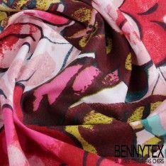 Cretonne 100 % Coton Imprimé Modèle TAHITIEN Ton Fushia
