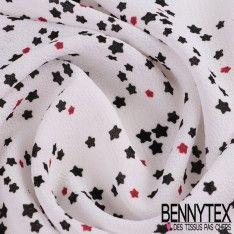 Double Crêpe Polyester Imprimé Motif Petites Etoiles Fond Blanc