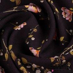 Fibranne Viscose Lourde Tissage Sergé Imprimé Fleurs Sur Fond Noir