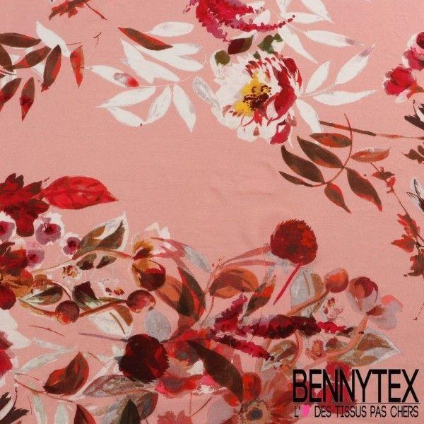 Fibranne Viscose Imprimé Motif Grosse Fleurs Ton Rouge Fond Incarnat
