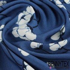 Fibranne Viscose Imprimé Petites Fleurs Blanche Sur Fond Bleu