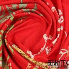 Jersey Viscose imprimé Motif Placé Fleur et Oiseaux Fond Rouge