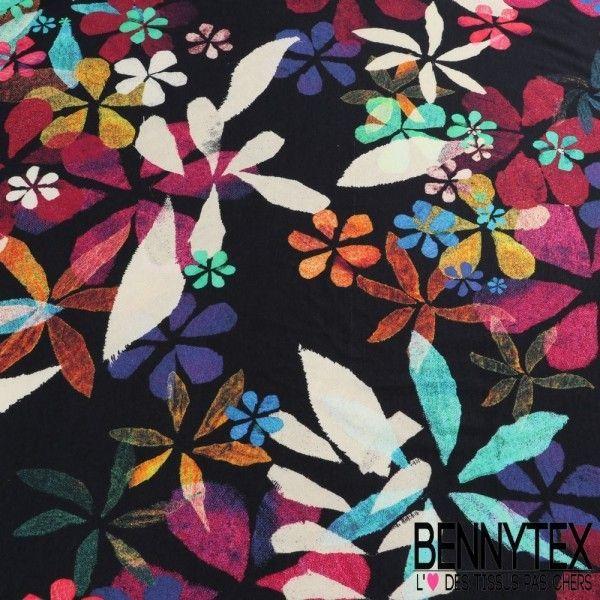 Jersey Viscose imprimé Motif Fleurs Multicolores sur fond Bleu Marine