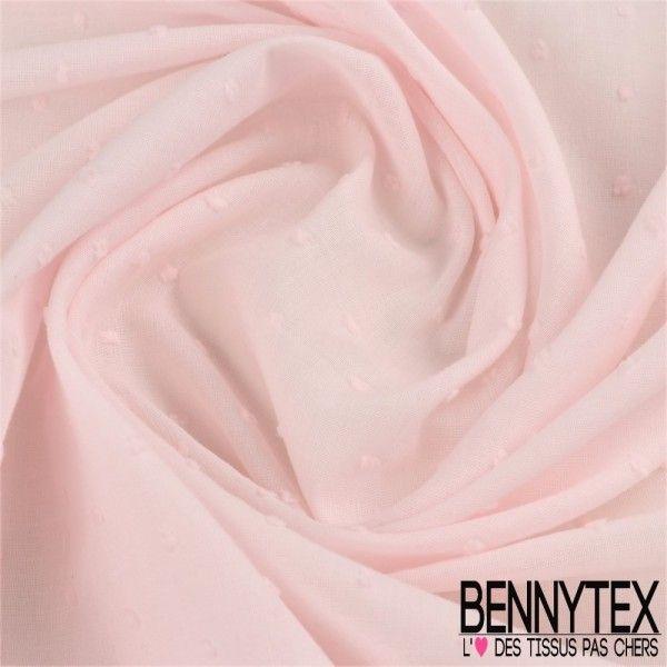 Voile de Coton Plumetis Couleur Rose Pale