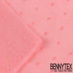 Voile de Coton Plumetis Couleur Rose Fiesta