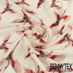 Crêpe Polyester Imprimé Motif Oiseaux Ton Rouge Sur Fond Crême