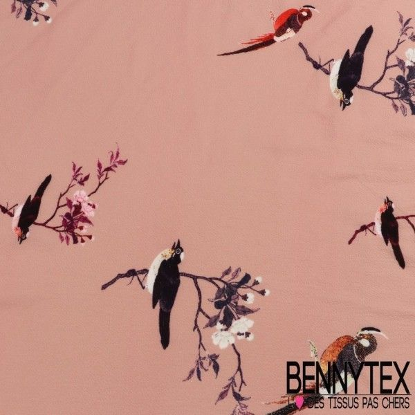 Crêpe Polyester Imprimé Motif Oiseaux Fond Couleur Rose thé