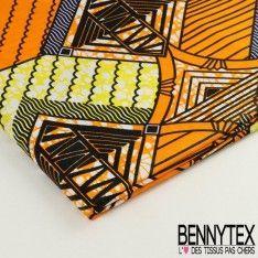 Wax Africain N°026 : Motif Carré Ton Couleur Orange et Jaune