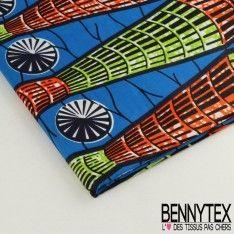 Wax Africain N°028 : Motif Colonne en Cône Couleur Vert et Orange Fond Bleu