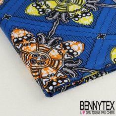 Wax Africain N°030 : Motif Hélices Jaune et Orange Fond Bleu