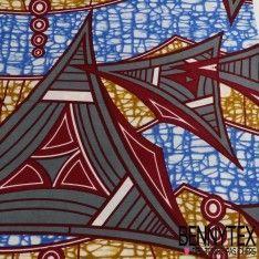 Wax Africain N°031 : Motif Triangle Ton Couleur Anthracite, Bordeaux, Bleu...