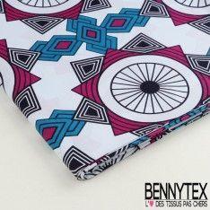 Wax Africain N°033 : Motif Graphique Ton Bleu et Mauve Fond Blanc Cassé