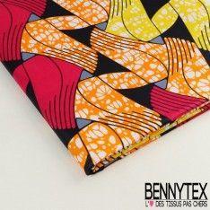 Wax Africain N°036 : Motif Abstrait Ton Fushia Jaune et Noir
