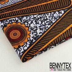 Wax Africain N°037 : Formes Graphique Ton Tangerine Et Bordeaux