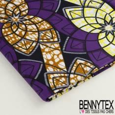 Wax Africain N°039 : Formes Fleurs Ton Violet et Jaune
