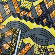 Wax Africain N°046 : Motif Graphique Ton Jaunes Gris Noir