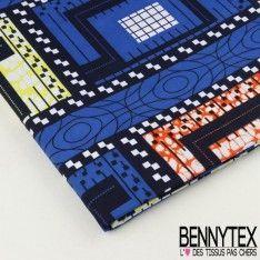 """Wax Africain N°052 : Modèle """"CASE"""" Motif Graphique Ton Jaune et Bleu"""