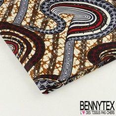 "Wax Africain N°053 : Modèle ""SNAKE"" Motif Ton Marron Rouge Bleu"
