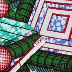 "Wax Africain N°054 : Modèle ""ATOMIUM"" Motif Ton Vert Bleu Turquoise"