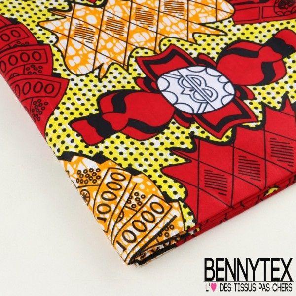 "Wax Africain N°055 : Modèle ""CFA"" Motif Jaune rouge Orange"