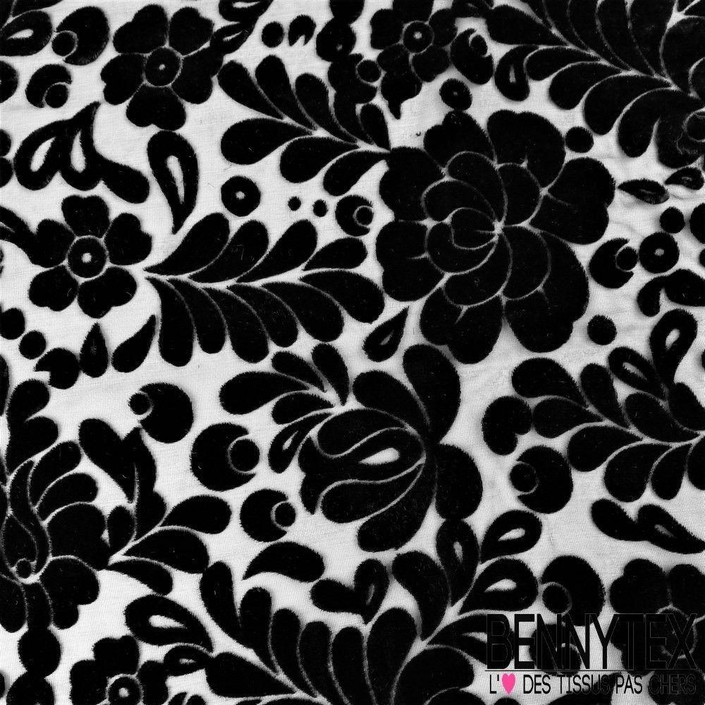 Velours mousseline de soie d vor fleurs couleur noir for Velours de soie ameublement