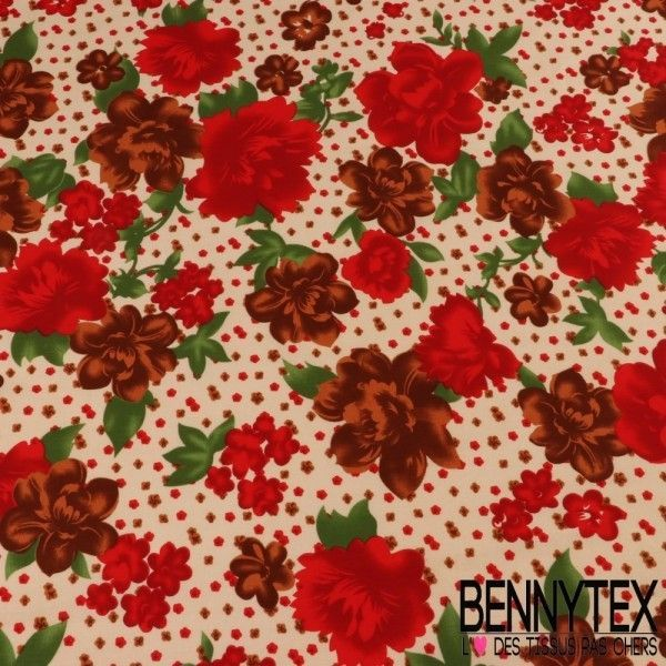 Coton Imprimé Motif à Fleurs Rouge Fond Beige